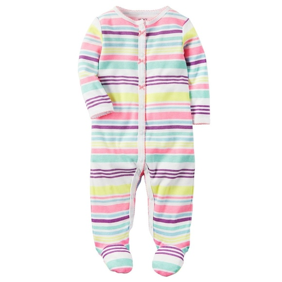 e8c614092 Carter's One Pieces | Carters Baby Girl Striped Footed Pajama | Poshmark